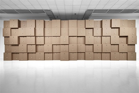 80 prepared dc-motors, cotton balls, cardboard boxes 71x71x71cm by zimoun