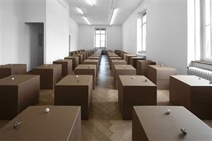 62 prepared dc-motors, cotton balls, cardboard boxes 60x60x60cm by zimoun