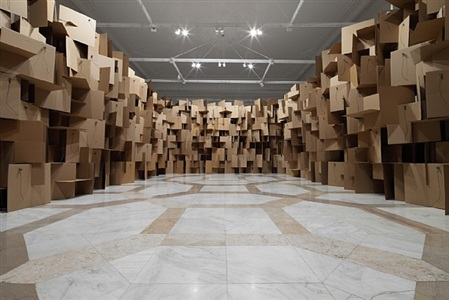 200 prepared dc-motors, 2000 cardboard elements 70x70cm by zimoun