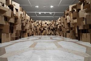 200 prepared dc-motors, 2000 cardboard elements 70x70cm by zimoun