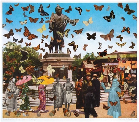 the butterfly man - tokyo (in homage to damian hirst) by peter blake