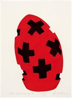 black crossed red egg by david nash