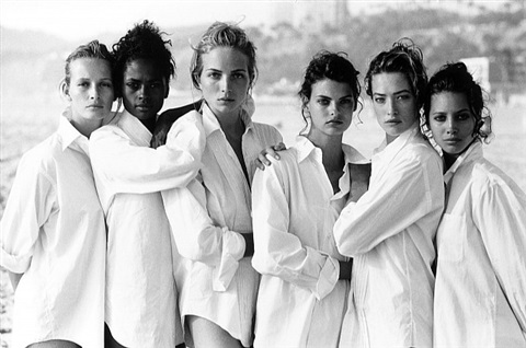 estelle lefebure, karen alexander, rachel williams, linda evangelista, tatjana patitz, christy turlington, vogue us, los angeles, usa, 1988 by peter lindbergh