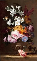 roses, jasmine, primroses and other flowers in an urn on a stone ledge by abraham brueghel
