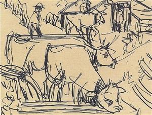kühe am brunnen by ernst ludwig kirchner