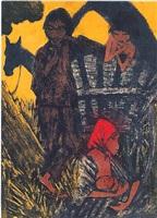 zigeunerfamilie am planwagen by otto mueller