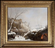 a winter landscape with the convent of san cosimato near tivoli by jules cesar denis van loo
