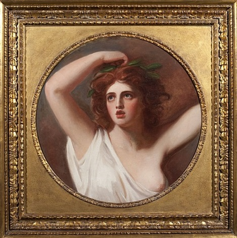 a portrait of lady emma hamilton as cassandra , half length, in a white robe, a laurel wreath crowning her head by george romney
