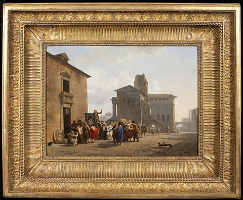 a view of a town square with an auction taking place by nicolas antoine taunay