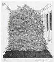a room full of straw (from the story rumpelstilzchen) by david hockney