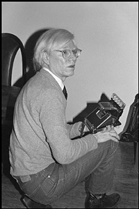 andy warhol with polaroid sx70, the factory by bobby grossman