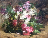 pink roses and garden flowers by george jannin