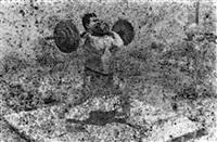 bodybuilders. printed from a damaged negative showing mahmoud el dimassy in saida, 1948 by akram zaatari