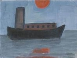 boat and setting orange sun by kathryn lynch
