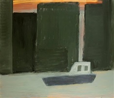 hudson river with boat by kathryn lynch