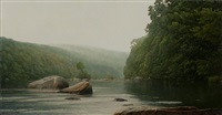 boulder run on the farmington river by peter bergeron