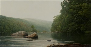 boulder run on the farmington river by peter bergeron