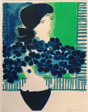 untitled (woman with bouquet) by andré brasilier