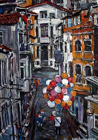 a street in balat, istanbul by galip özgören
