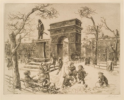 sculpture in washington square by john french sloan