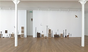 installation view of roger ackling exhibition by roger ackling