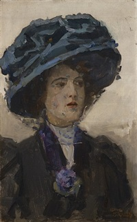 portrait of a woman with hat and voile by isaac israels