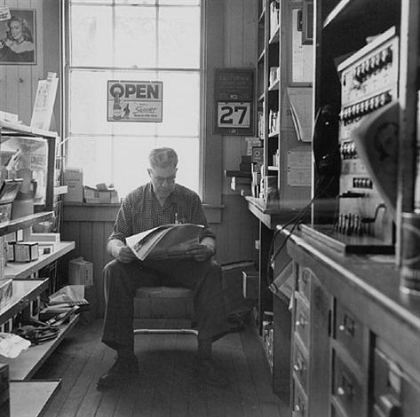 albert mckenzie; inside cook, mckenzie & son store, 1956 by dorothea lange