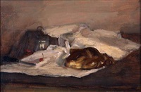 still life with bread and cherries by seymour remenick