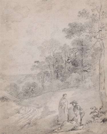 figures by a track through a wooded landscape by thomas gainsborough