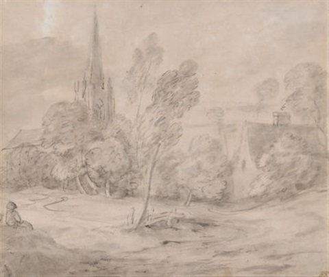 a church in a wooded landscape by thomas gainsborough