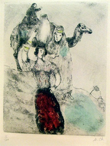 rebecca at the well from the bible by marc chagall
