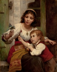 child and mother with bird by françois lafon