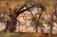 trees by the schuykill with yellow bridge by seymour remenick