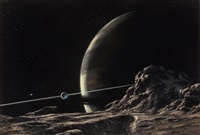 saturn as seen from the satellite, tethys, starlog #13 magazine cover by ludek pesek