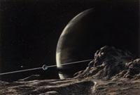 saturn as seen from the satellite, tethys, starlog #13 magazine cover by ludek pesek