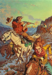 the shootout, western aces magazine cover, april by allen anderson