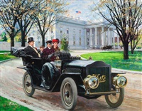 the chief executive goes for a spin white steamer, great moments in early american motoring calendar illustration by harry anderson