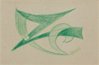 study for the line of velocity no. 2 (double-sided) by giacomo balla