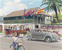 the oldest house, st. augustine, florida chrysler airflow, great moments in early american motoring calendar illustration by harry anderson