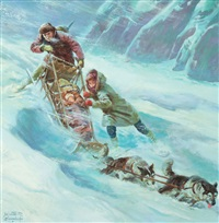 starvation wilderness, outdoor life magazine story illustration, june by walter martin baumhofer
