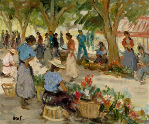 flower market at cannes by marcel dyf