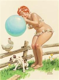 hilda blowing up a balloon, brown & bigelow calendar illustration by duane bryers