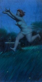 hilda chasing fireflies at nightfall, brown & bigelow calendar illustration by duane bryers