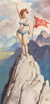 hilda on top of the world, brown & bigelow calendar illustration by duane bryers