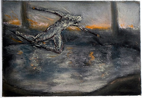 leaping man in fiery landscape by peter booth