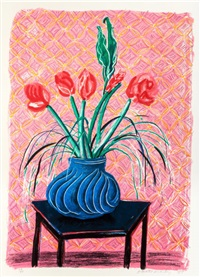 amaryllis in a vase by david hockney