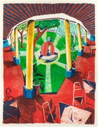 view of hotel well iii (from the moving focus series) by david hockney