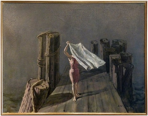 girl with towel by hughie lee-smith