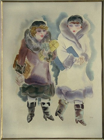 two women walking by george grosz