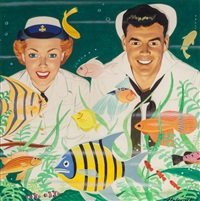 the aquarium, american weekly magazine cover, july 13 by dal holcomb